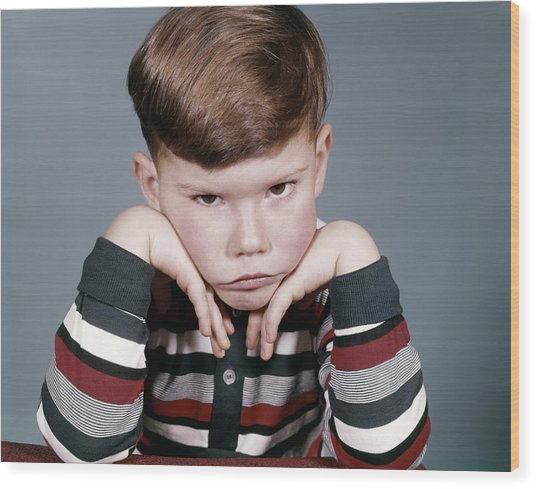 1960s Portrait Sad Angry Little Boy Wood Print