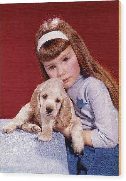 1960s Portrait Serious Little Girl Wood Print
