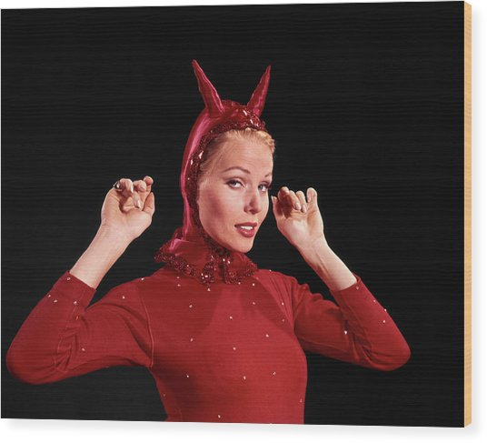 1960s Woman Red Devil Costume Wood Print