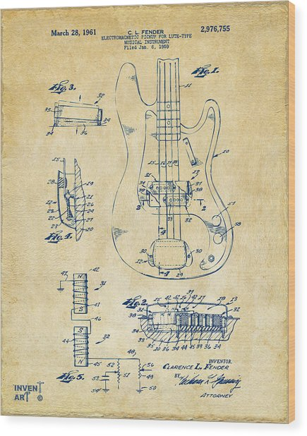 1961 Fender Guitar Patent Artwork - Vintage Wood Print