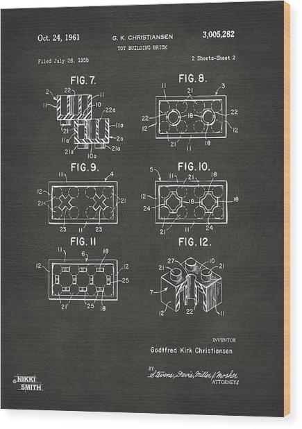 1961 Lego Brick Patent Art - Gray Wood Print