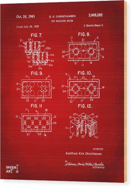 1961 Lego Brick Patent Art Red Wood Print