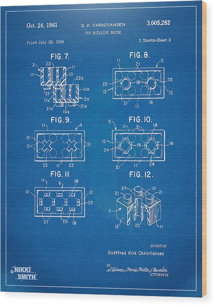 1961 Lego Brick Patent Artwork - Blueprint Wood Print