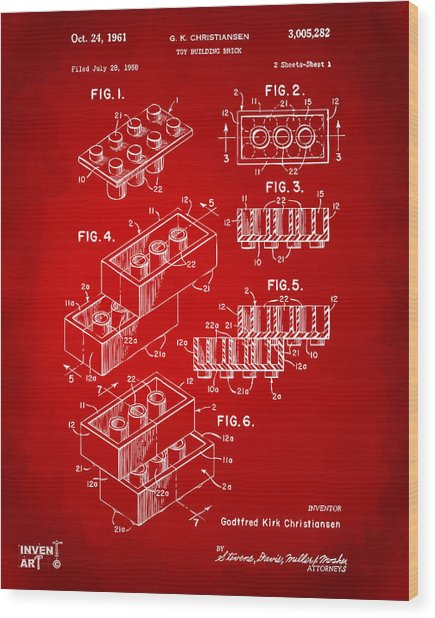 1961 Toy Building Brick Patent Art Red Wood Print