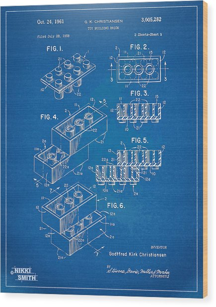 1961 Toy Building Brick Patent Artwork - Blueprint Wood Print