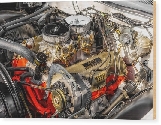 1962 Impala Ss 409 Engine Wood Print