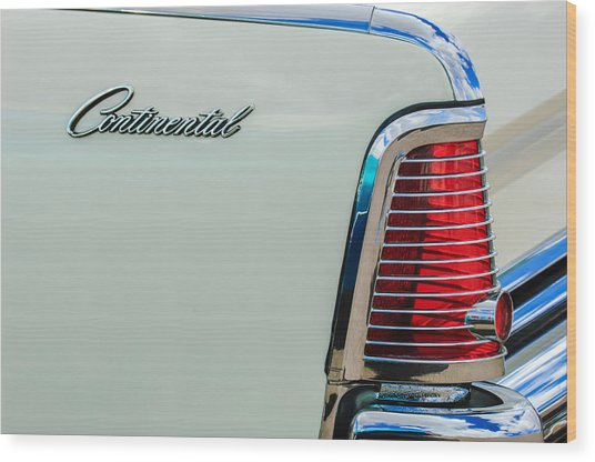 1963 Lincoln Continental Taillight Emblem -0905bw Wood Print
