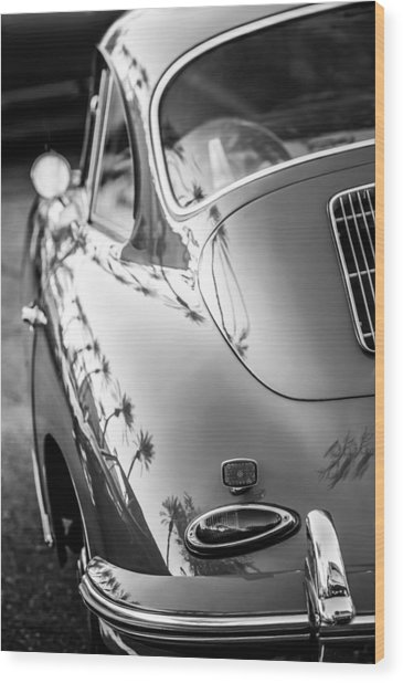 Wood Print featuring the photograph 1963 Porsche 356b S Coupe Taillight -1241bw by Jill Reger