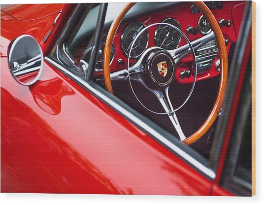 1964 Porsche 356 Carrera 2 Steering Wheel Wood Print