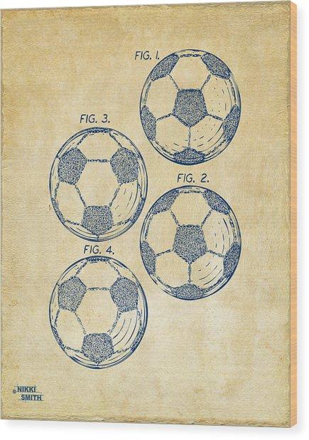 1964 Soccerball Patent Artwork - Vintage Wood Print