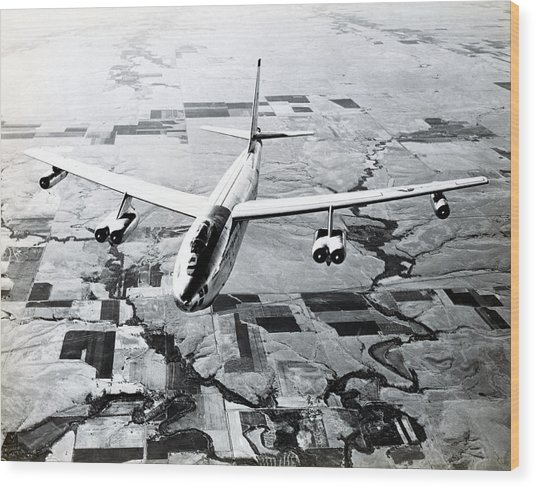 1965 Air Force B-47 In Flight Wood Print