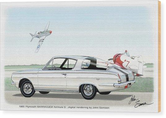 1965 Barracuda  Classic Plymouth Muscle Car Wood Print