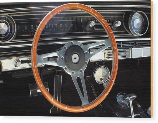 1965 Chevrolet Impala Ss Steering Wheel Wood Print by DJ Monteleone