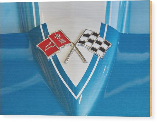 1965 Corvette Flags Emblem Wood Print