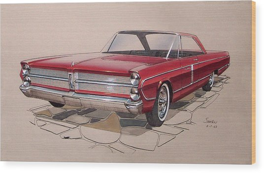 1965 Plymouth Fury  Vintage Styling Design Concept Rendering Sketch Wood Print by John Samsen