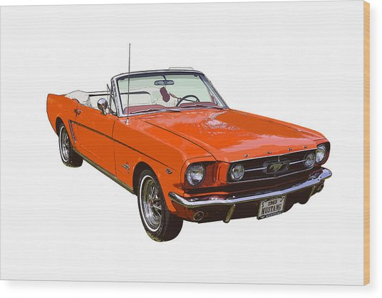 1965 Red Convertible Ford Mustang - Classic Car Wood Print