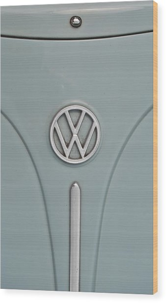 Wood Print featuring the photograph 1965 Volkswagen Beetle Hood Emblem by Jani Freimann