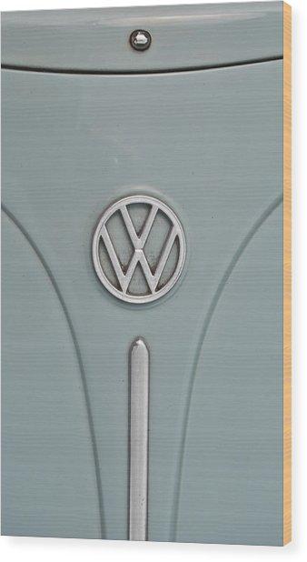 1965 Volkswagen Beetle Hood Emblem Wood Print
