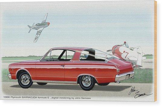 1966 Barracuda  Classic Plymouth Muscle Car Sketch Rendering Wood Print by John Samsen