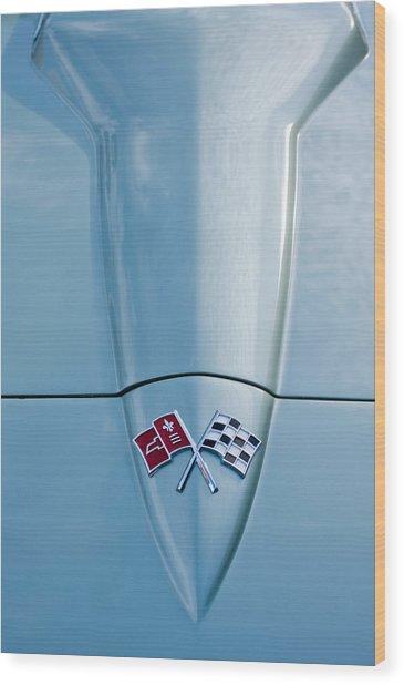 1966 Chevrolet Corvette Coupe Hood Emblem Wood Print