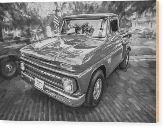 1966 Chevy C10 Pick Up Truck Painted Bw Wood Print