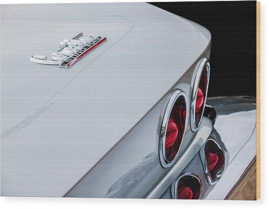 1967 Chevrolet Corvette Coupe Taillight Emblem Wood Print