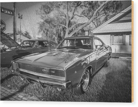1968 Dodge Charger The Bullit Car Bw Wood Print