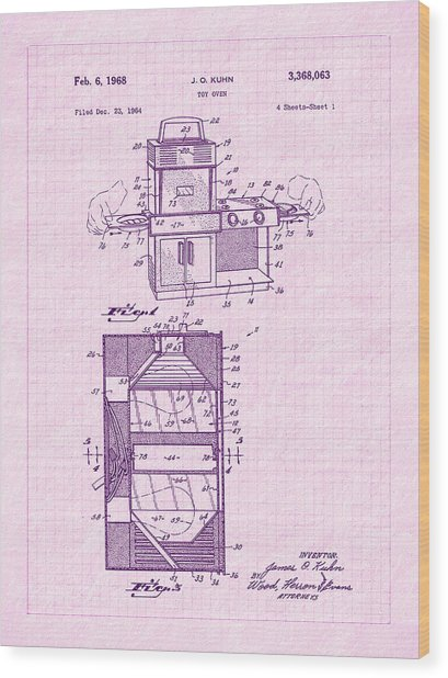1968 Easy Bake Toy Oven Patent Art Wood Print by Barry Jones