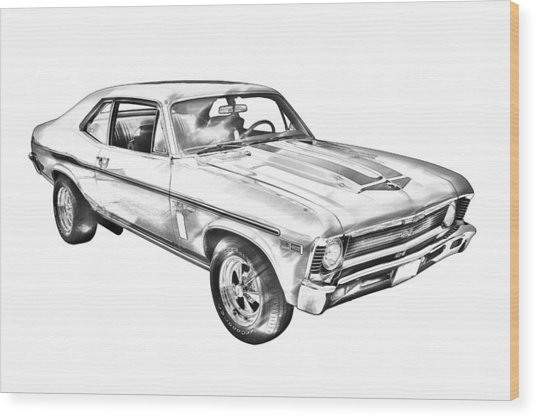 1969 Chevrolet Nova Yenko 427 Muscle Car Illustration Wood Print