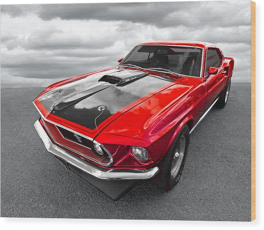 1969 Red 428 Mach 1 Cobra Jet Mustang Wood Print