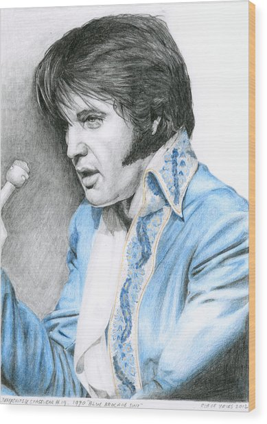 1970 Blue Brocade Suit Wood Print