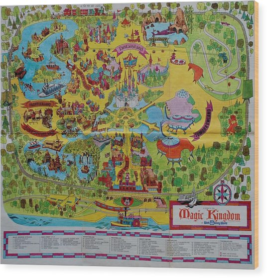 1971 Original Map Of The Magic Kingdom Wood Print