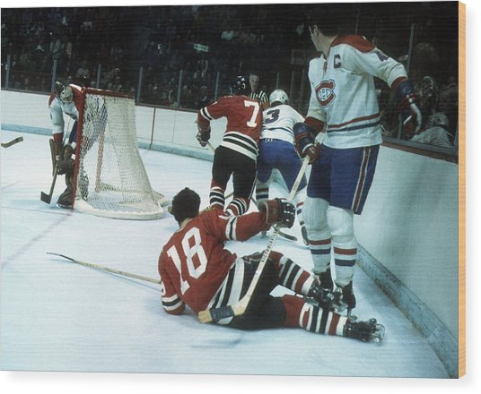 1971 Stanley Cup Finals:  Chicago Blackhawks V Montreal Canadiens Wood Print by Melchior DiGiacomo