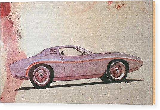 1972 Barracuda  J Cuda Vintage Styling Design Concept Sketch Wood Print by John Samsen