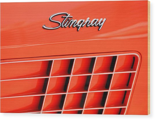 1972 Chevrolet Corvette Stingray Emblem 3 Wood Print