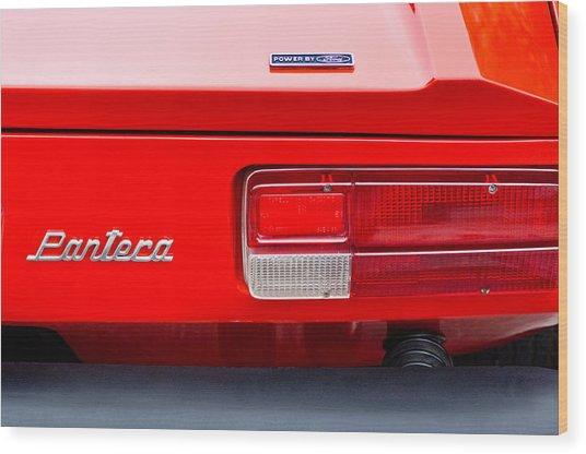 1972 De Tomaso Pantera Taillight Emblem Wood Print