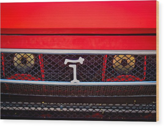 Wood Print featuring the photograph 1972 Detomaso Pantera Grille Emblem -0275c by Jill Reger