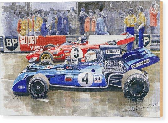 1972 French Gp Jackie Stewart Tyrrell 003  Jacky Ickx Ferrari 312b2  Wood Print