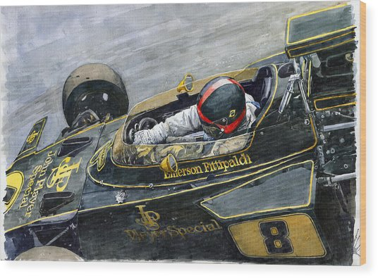 1972 Monaco Gp Emerson Fittipaldi Lotus72 D Wood Print