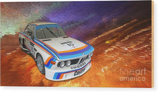 1973 Bmw 3.0 Csl Batmobile Touring Car Wood Print