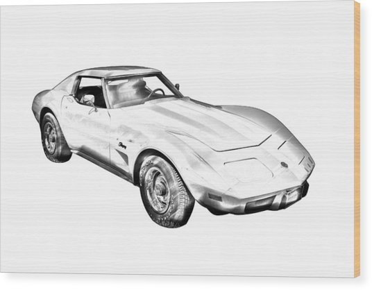 1975 Corvette Stingray Sports Car Illustration Wood Print