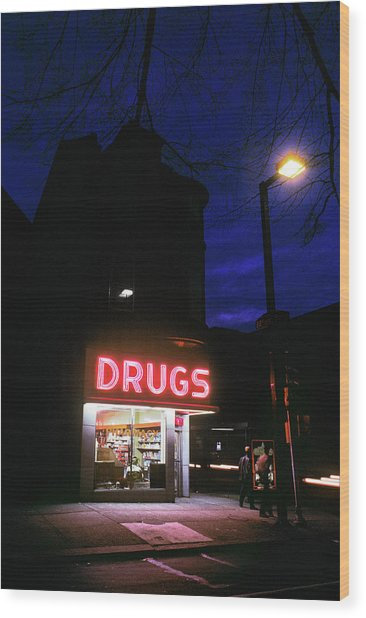 1980s 24 Hour Drug Store At Night Pink Wood Print