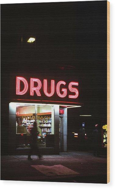 1980s Drug Store At Night Pink Neon Wood Print