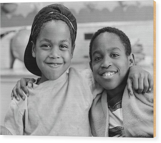 1980s Two African American Boys Smiling Wood Print
