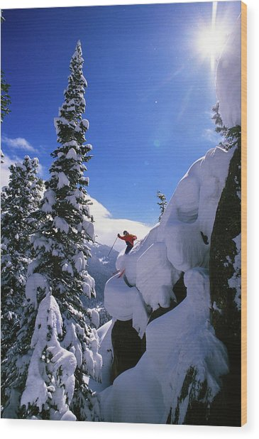 1990s Skier On The Mary Jane At Winter Wood Print