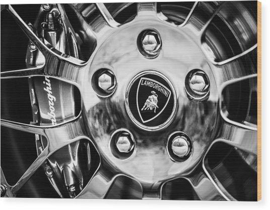 Wood Print featuring the photograph 1997 Lamborghini Diablo Roadster  Wheel Emblem -1303bw by Jill Reger