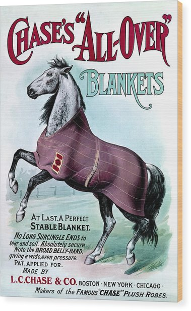 19th C. Chase's Horse Blankets Wood Print