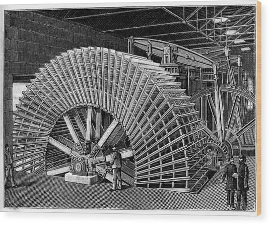 19th C Egyptian Hydraulic Factory Wood Print by Collection Abecasis/science Photo Library