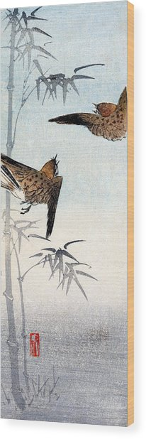 19th C. Japanese Sparrows Wood Print