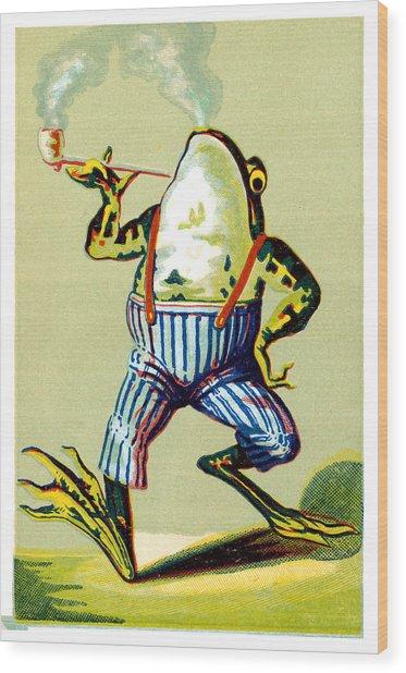 19th C. Pipe Smoking Frog Wood Print